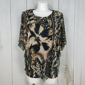 Dressbarn Tan Black Floral Beaded Tunic Blouse